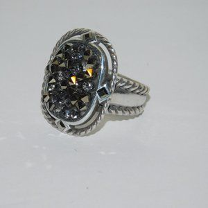 Brighton Crystal Rocks Ring Silver Tone Braided